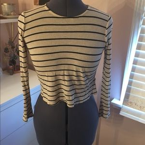 Crop Thermal Tee White with Black Stripes